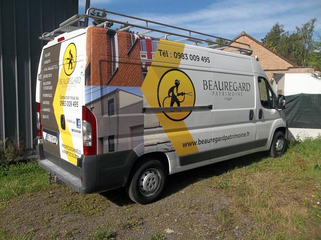 Marquage du véhicule avec impression numérique haute qualité - Beauregard Patrimoine / Liévin