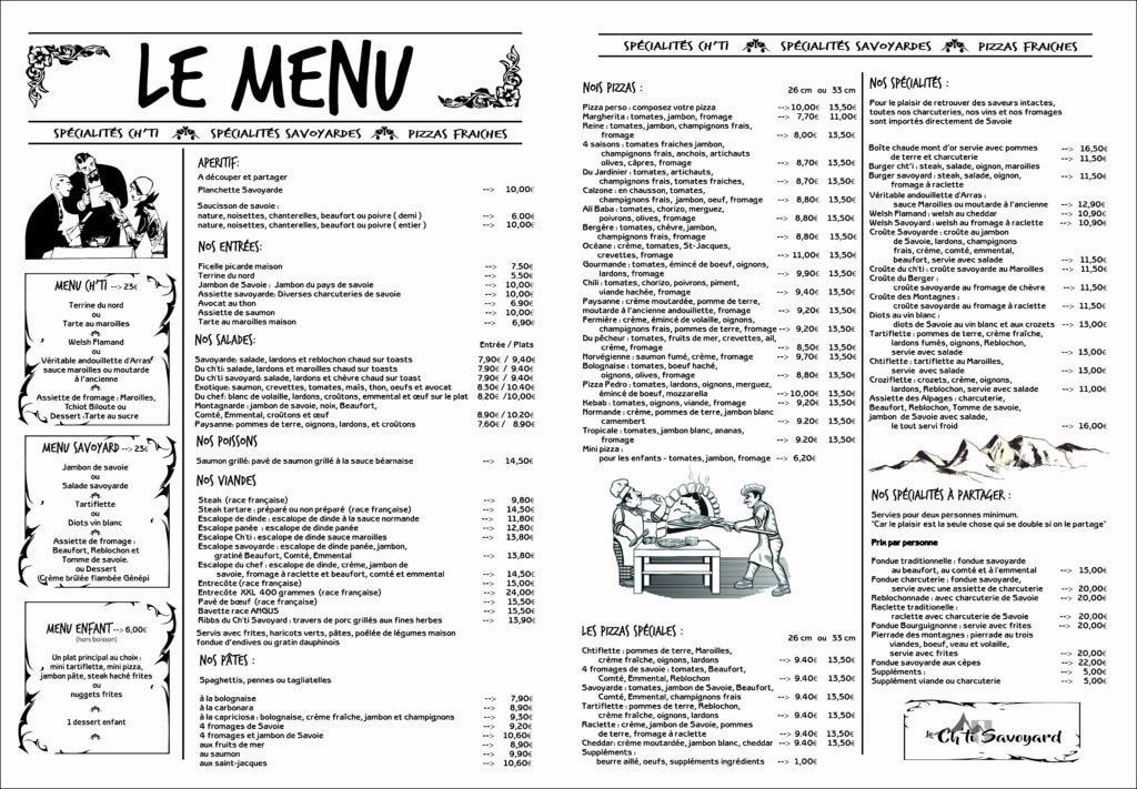 Création d'un nouveau menu - Le Ch'ti Savoyard / Bapaume